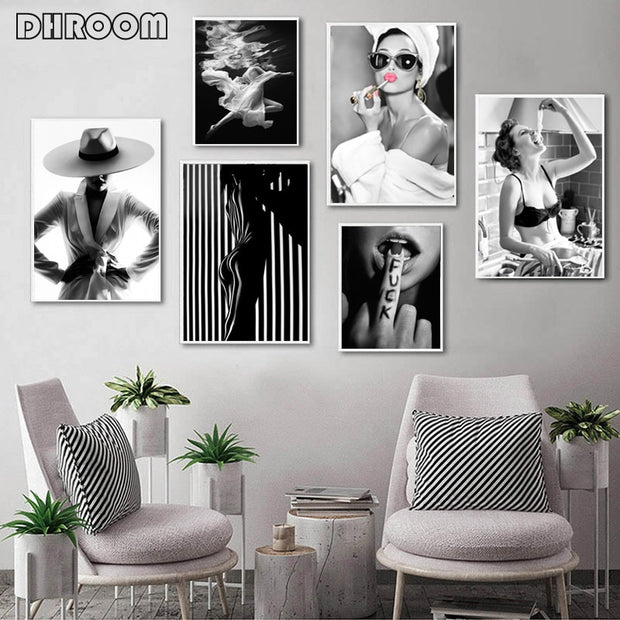 Black White Underwater Woman Print Sexy Female Poster Canvas Art