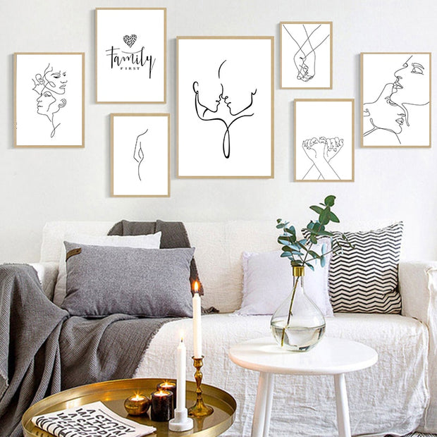 Figure Line Drawing Posters and Prints for Living Room