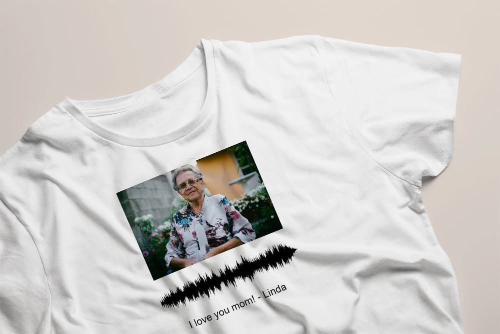Turn your own voice, photo and text into  a visual artwork on T-shirt. Mother's Day Special (No. 32)