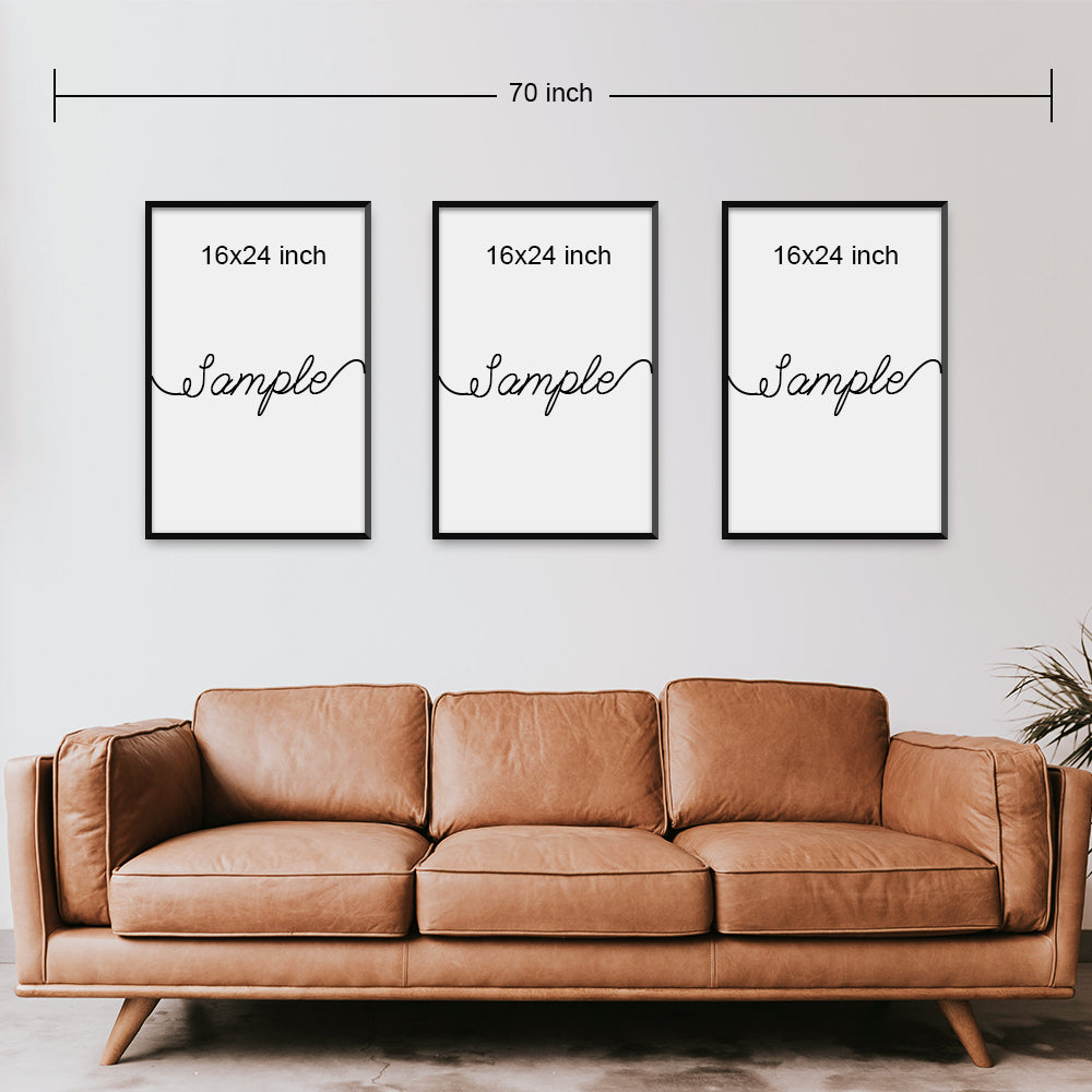 Set of 3 Split Canvas Prints | Home Sweet Home | Living Room Decor (No. 1)