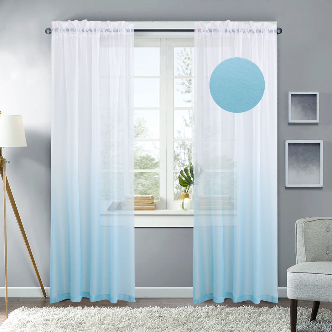 Gyrohomestore Gradient Sheer Pod Pocket Curtain Panels