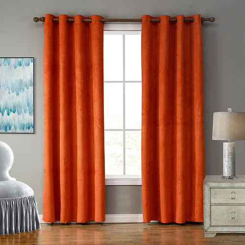Gyrohomestore Faux Suede Room Darkening Grommet Curtains