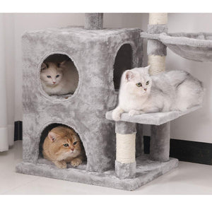Gyrohomestore Light Grey Cat Tree Condo with Sisal Scratching Posts