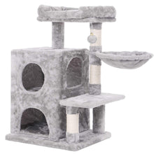 Load image into Gallery viewer, Gyrohomestore Light Grey Cat Tree Condo with Sisal Scratching Posts