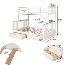 Load image into Gallery viewer, Gyrohomestore Twin-Over-Full Bunk Bed with Ladders For Bed Room
