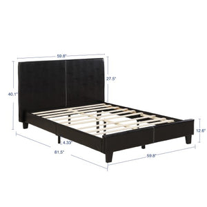 Gyrohomestore Upholstery Twin Platform Bed with Faux-Leather