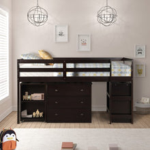 Load image into Gallery viewer, Gyrohomestore Low Study Twin Loft Bed with Cabinet and Rolling Portable Desk