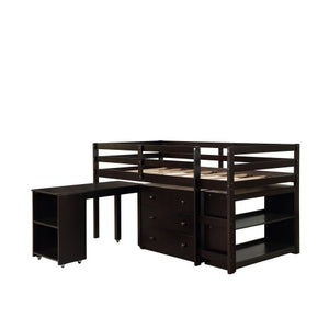 Gyrohomestore Low Study Twin Loft Bed with Cabinet and Rolling Portable Desk