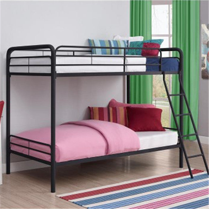 Gyrohomestore Twin-Over-Twin Metal Bunk Bed with Ladder