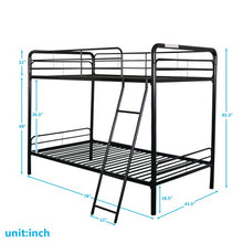 Load image into Gallery viewer, Gyrohomestore Twin-Over-Twin Metal Bunk Bed with Ladder