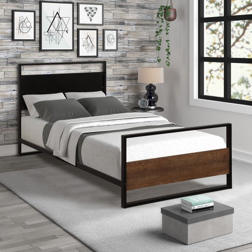 Gyrohomestore Metal and Wood Bed Frame with Headboard and Footboard