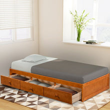 Load image into Gallery viewer, Gyrohomestore Oak Platform Twin Size Bed with 3 Drawers Storage