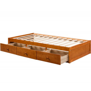 Gyrohomestore Oak Platform Twin Size Bed with 3 Drawers Storage