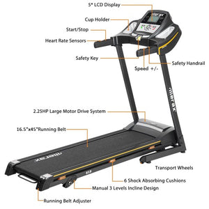 Gyrohomestore Folding Electric Treadmill Motorized Running Machine with Manual Incline