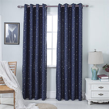 Load image into Gallery viewer, Gyrohomestore Star Navy Blue Blackout Thermal Grommet Curtain Panels