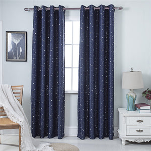 Gyrohomestore Star Navy Blue Blackout Thermal Grommet Curtain Panels