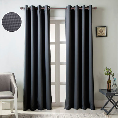 Gyrohomestore Solid Color Thermal Insulated Blackout Curtains Metal Grommet Curtain Panels