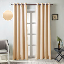 Load image into Gallery viewer, Gyrohomestore Solid Color Thermal Insulated Blackout Curtains Metal Grommet Curtain Panels