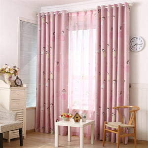 Gyrohomestore Lovely Pink Cartoon Girls Blackout Grommet Top Curtain Panels