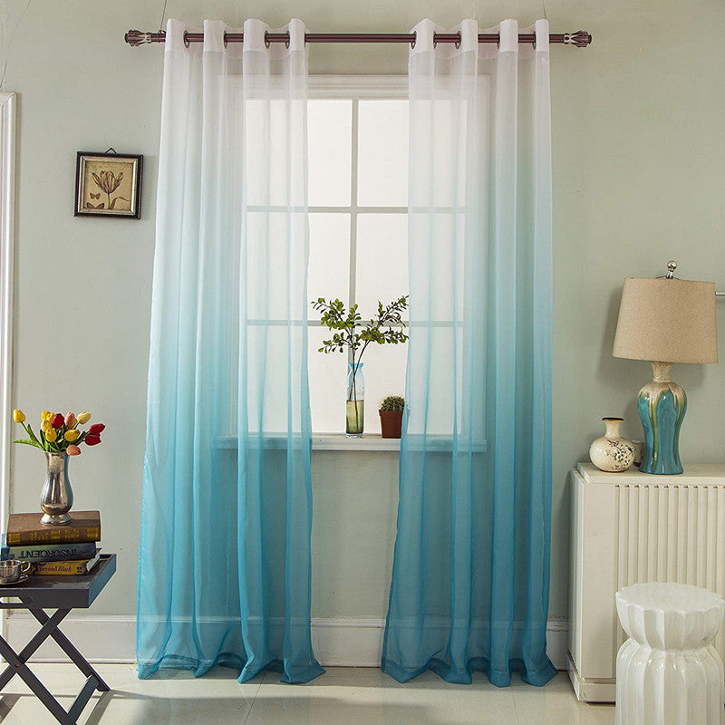 Gyrohomestore Blue Gradient Grommet Voile Sheer Curtains