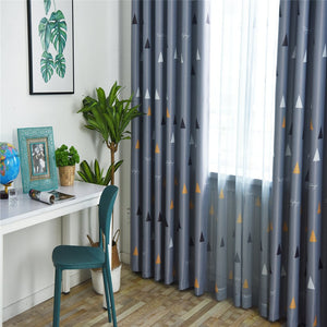 Gyrohomestore Blackout Curtains Room Darkening Triangular Print Thick Curtains