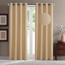 Load image into Gallery viewer, Gyrohomestore Jacquard Solid Room Darkening Grommet Blackout Curtains