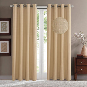 Gyrohomestore Jacquard Solid Room Darkening Grommet Blackout Curtains