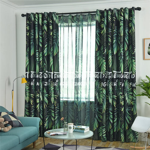 Gyrohomestore Rainforest Print Cotton Twill Room Darkening Window Drapes