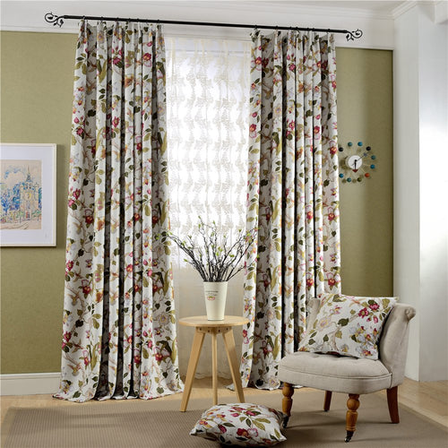 Gyrohomestore Luxury Floral Printed Room Darkening Window Drape