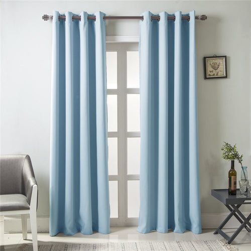 Gyrohomestore Modern Solid Grommet Thermal Blue Blackout Curtains