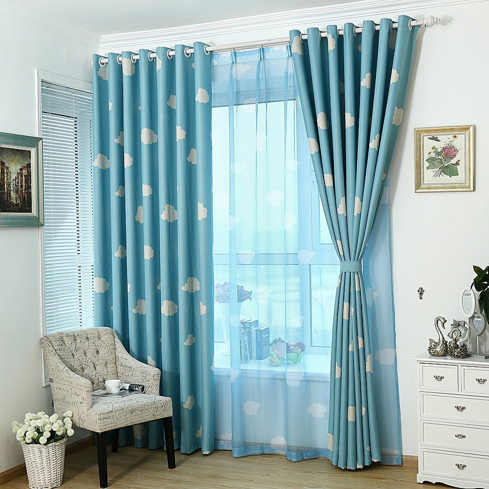 Gyrohomestore Blue and White Cloud Engery Saving Target Blackout Curtains