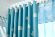 Load image into Gallery viewer, Gyrohomestore Blue and White Cloud Engery Saving Target Blackout Curtains