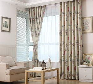 Gyrohomestore Trees Beige Blackout Grommet Top Thick Curtains