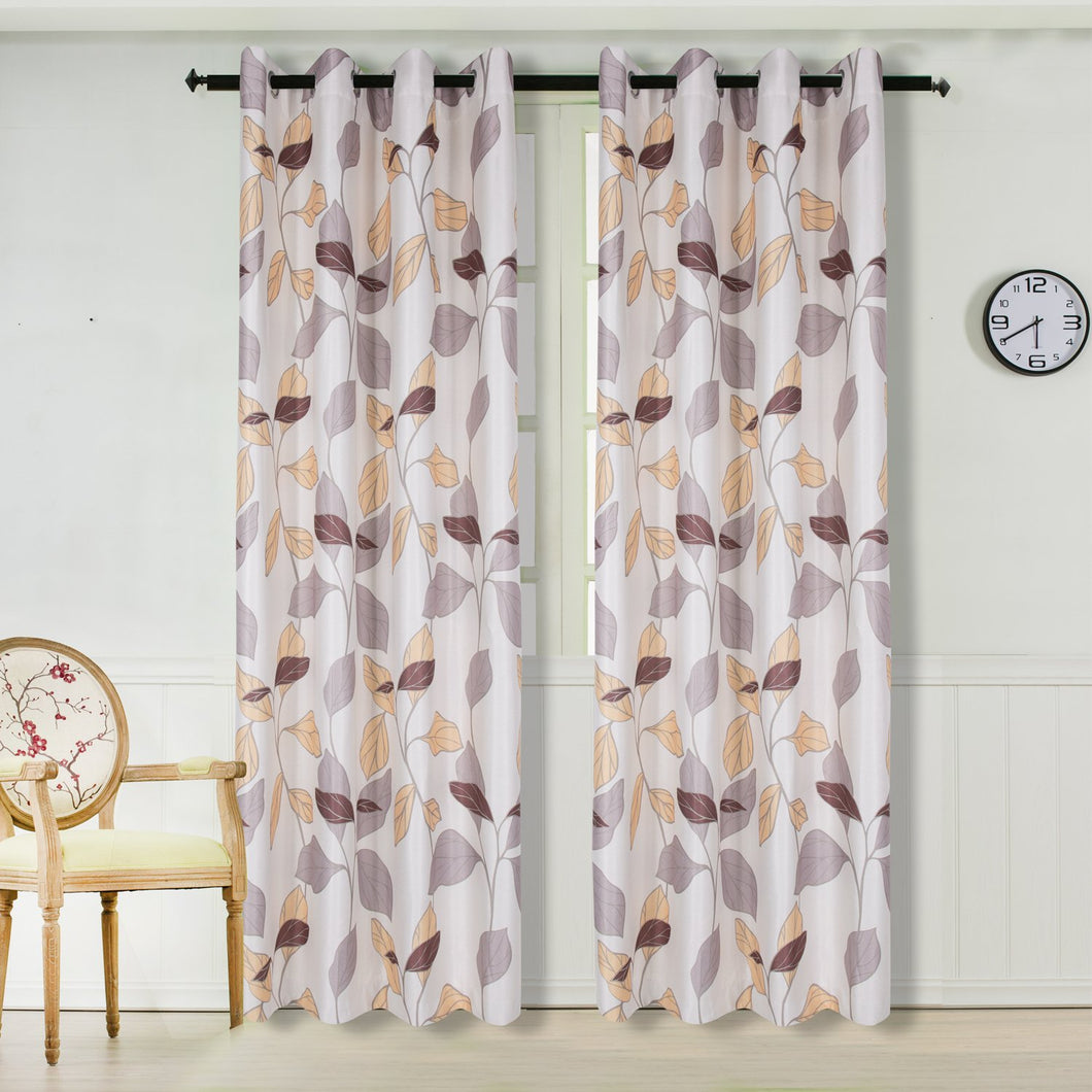 Gyrohomestore Leaves Print Thermal Insulated Room Darkening Blackout Curtain Lining