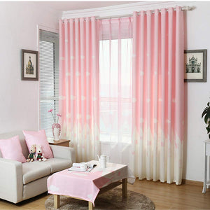 Gyrohomestore Angel Print Double Pleated  Pink Blackout Curtains