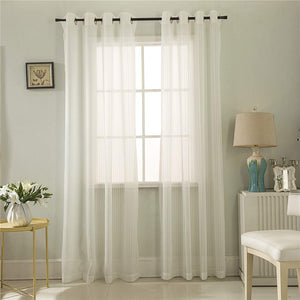 Gyrohomestore White Sheer Curtain Linen Look Semi Voile Grommet Curtains