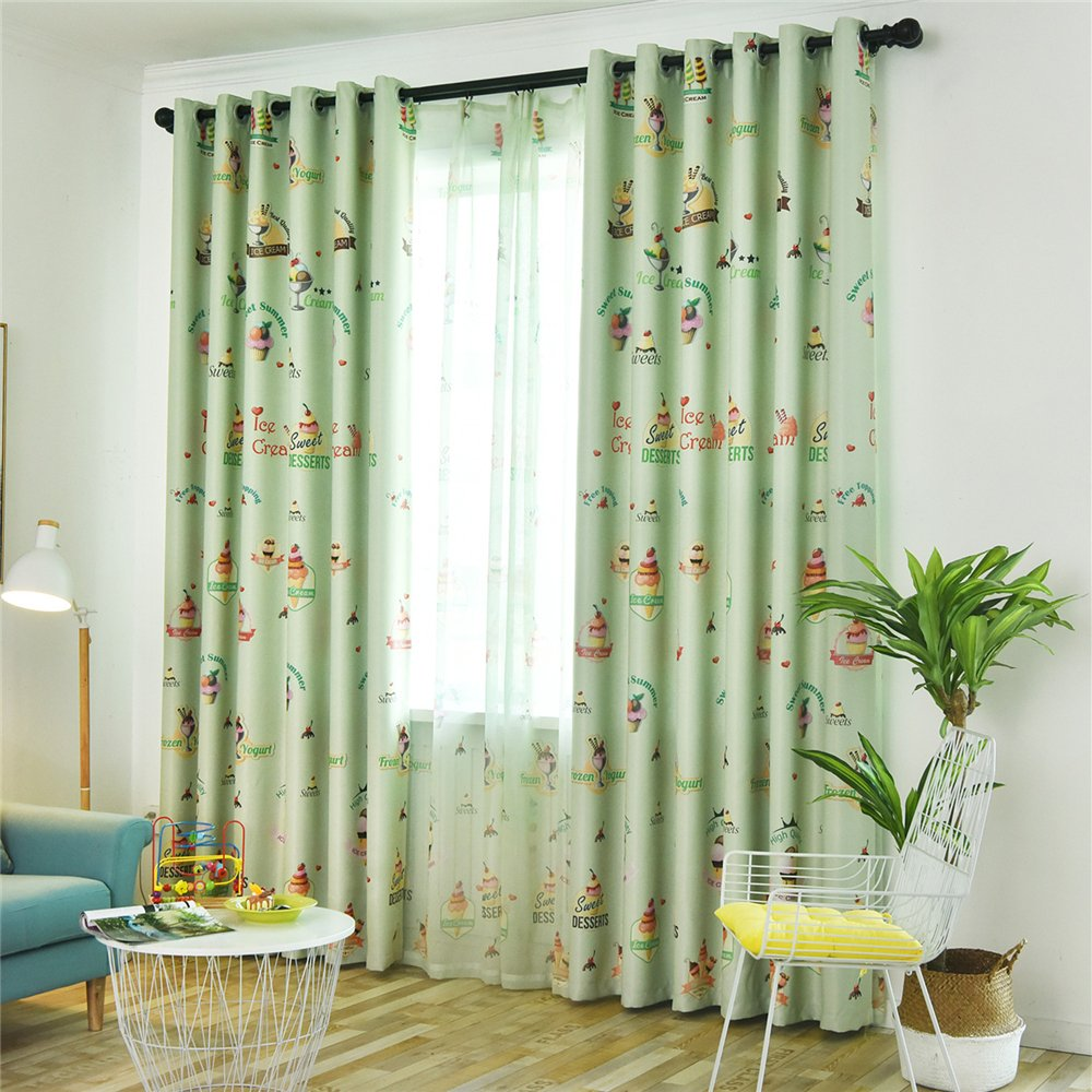 Gyrohomestore Cartoon Ice Cream Print Kids Blackout Curtains Cheap