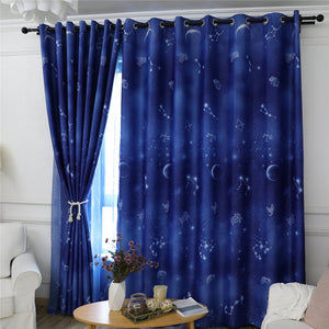 Gyrohomestore Starry Night Print Thermal Insulated Navy Blue Blackout Curtains