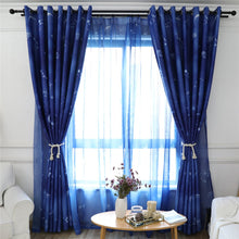 Load image into Gallery viewer, Gyrohomestore Starry Night Print Thermal Insulated Navy Blue Blackout Curtains