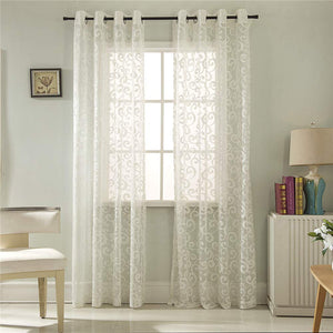 Gyrohomestore Floral Leaf Sheer Farmhouse Style Voile Grommet Curtains