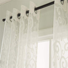 Load image into Gallery viewer, Gyrohomestore Floral Leaf Sheer Farmhouse Style Voile Grommet Curtains