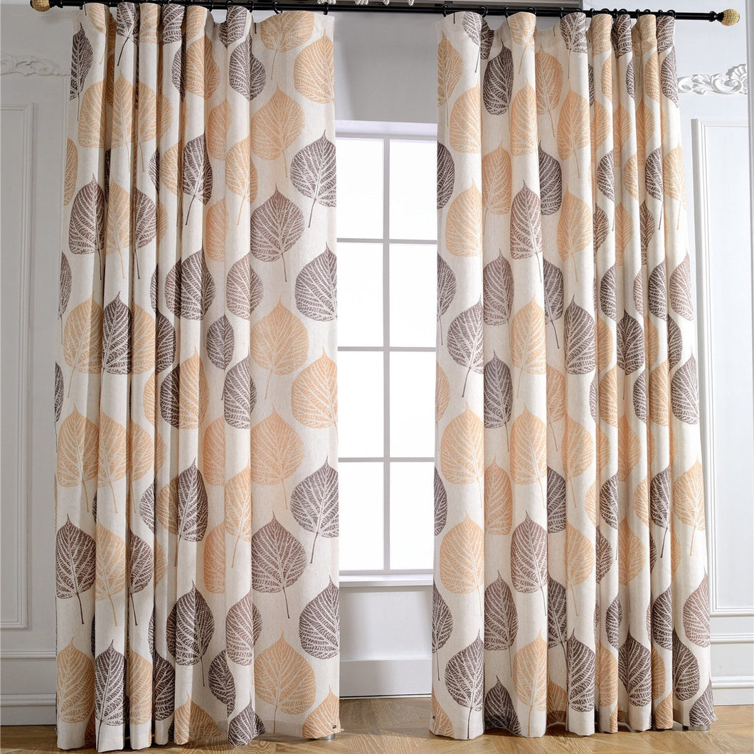 Gyrohomestore Autumn Natural Trees Embroidered Room Darkening Window Draps