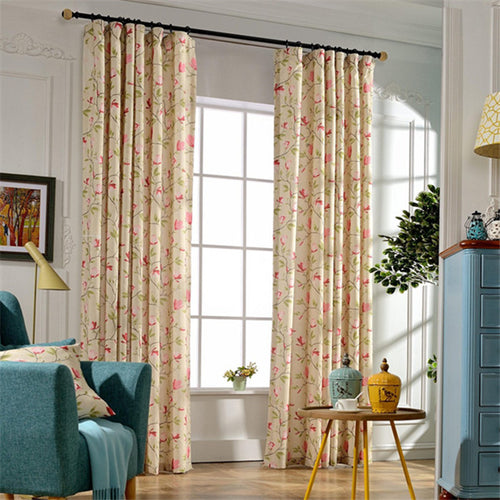 Gyrohomestore Pink Flowers Floral Room darkening Window Treatments