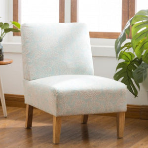 Gyrohomestore Classical Blue Flower Accent Armless Chair Living Room with Natural Color Wood Legs