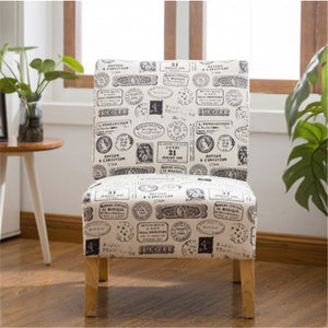 Gyrohomestore Modern Letter Printed Fabric Armless Accent Chair with Natural color Wood Legs