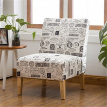 Load image into Gallery viewer, Gyrohomestore Modern Letter Printed Fabric Armless Accent Chair with Natural color Wood Legs