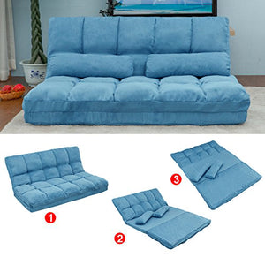 Gyrohomestore Two Pillows Double Chaise Lounge Sofa Chair Floor Couch