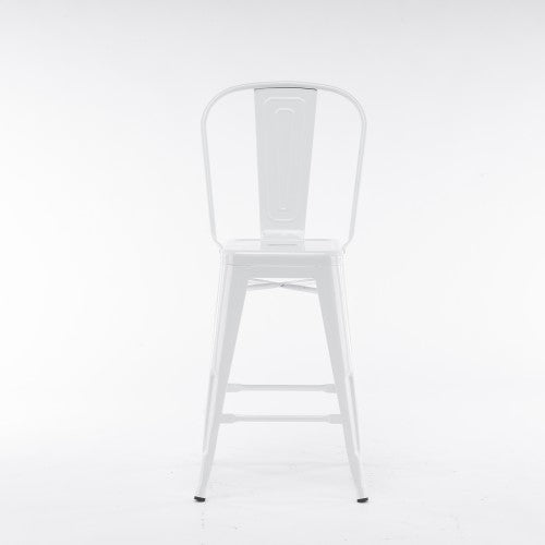 Gyrohomestore High White Metal Dining Room Chair