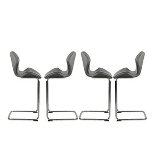 Gyrohomestore Leather Dining Chairs for Dining and Kitchen barstool with metal legs set of 4 (Grey)