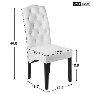 Gyrohomestore White PU Dining Room Chairs with Solid Wood Legs